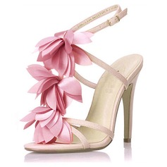 Leatherette Stiletto Heel Sandals Slingbacks With Satin Flower shoes (087016477)