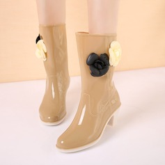 De mujer PVC Tacón ancho Botas Botas longitud media Botas de lluvia con Flor zapatos (088127050)
