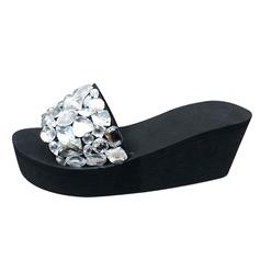 Frauen Stoff Keil Absatz Sandalen Pantoffel mit Strass Schuhe (087089792)