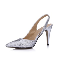 Women's Leatherette Sparkling Glitter Cone Heel Closed Toe Pumps Slingbacks (047026435)
