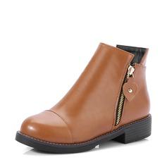 Frauen Kunstleder Stämmiger Absatz Flache Schuhe Stiefel Stiefelette mit Reißverschluss Schuhe (088139490)