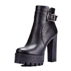 Frauen Kunstleder Stämmiger Absatz Absatzschuhe Plateauschuh Geschlossene Zehe Stiefel Stiefelette mit Schnalle Schuhe (088095923)