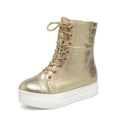 Frauen PU Flascher Absatz Flache Schuhe Plateauschuh Stiefelette mit Zuschnüren Schuhe (088148224)