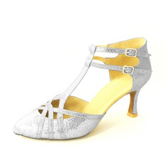 Women's Leatherette Heels Pumps Ballroom With T-Strap Dance Shoes (053020143)