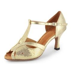 Kvinnor Glittrande Glitter Lackskinn Klackar Sandaler Latin med T-Rem Dansskor (053021493)
