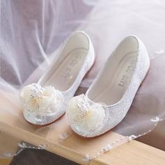Ragazze Punta chiusa Pizzo Heel piatto Ballerine Scarpe Flower Girl con Perline Bowknot (207127644)