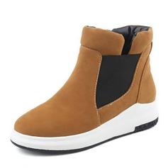 Frauen Veloursleder Flascher Absatz Flache Schuhe Stiefelette mit Zweiteiliger Stoff Schuhe (088144272)