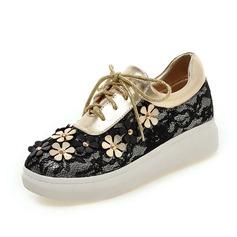 Vrouwen Kunstleer Kant Flat Heel Flats Closed Toe schoenen (086089827)