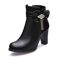 Frauen Kunstleder Stämmiger Absatz Absatzschuhe Geschlossene Zehe Stiefel Stiefelette mit Bowknot Quaste Schuhe (088170987)