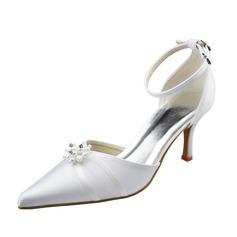Frauen Satin Stöckel Absatz Geschlossene Zehe Absatzschuhe mit Nachahmungen von Perlen (047062050)