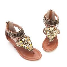 Kunstleder Keil Absatz Sandalen mit Quaste Schuhe (087063163)