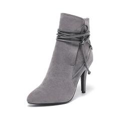 Frauen Wildleder Stöckel Absatz Absatzschuhe Geschlossene Zehe Stiefel Stiefelette mit Zuschnüren Schuhe (088095293)