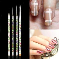 Unique 4Pcs Nail Brushes With Porcelain Pattern PVC Handle (046074894)