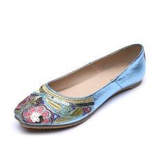 Leatherette Flat Heel Flats Closed Toe With Rivet shoes (086056683)