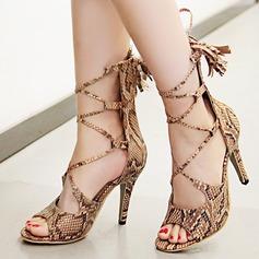 Vrouwen Kunstleer Stiletto Heel Sandalen Pumps Peep Toe met Vastrijgen Tassel schoenen (087124625)