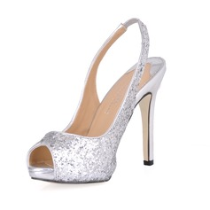 Kvinnor Glittrande Glitter Stilettklack Peep Toe Sandaler Slingbacks med Paljetter (047015242)