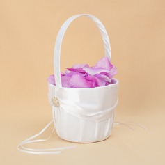 Beautiful Flower Basket in Satin With Bow (102018093)