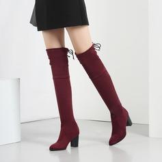 Frauen Veloursleder Stämmiger Absatz Absatzschuhe Stiefel Stiefel über Knie mit Bowknot Schuhe (088138198)