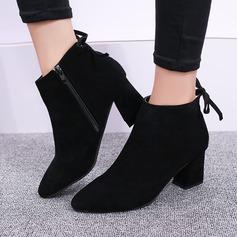 Frauen Veloursleder Stämmiger Absatz Stiefel Stiefelette mit Reißverschluss Zuschnüren Schuhe (088137087)
