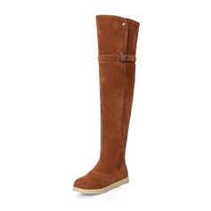 Donna Camoscio Senza tacco Ballerine Punta chiusa Stivali Stivali sopra il ginocchio Stivali da neve con Fibbia scarpe (088176491)