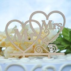 Cuori Doppi/Mr & Mrs Legno Decorazioni per torte (119157025)