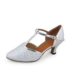 Kvinnor Konstläder Glittrande Glitter Klackar Pumps Bal med T-Rem Dansskor (053018533)