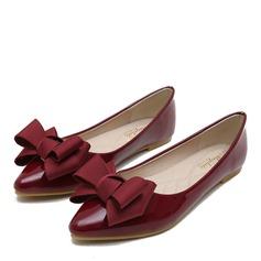 Donna Pelle verniciata Senza tacco Ballerine Punta chiusa con Bowknot scarpe (086163210)
