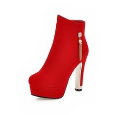 Frauen Wildleder Stöckel Absatz Absatzschuhe Stiefel Stiefelette mit Quaste Schuhe (088093617)