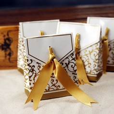 Flower Design Favor Boxes With Ribbons (Set of 12) (050005516)