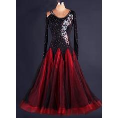 Frauen Tanzkleidung Polyester Organza Latintanz Kleider (115086087)