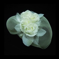 Gorgeous Artificial Silk/Net Yarn Fascinators With Venetian Pearl (042026548)