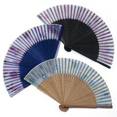 Diseño Floral Bambú/Seda Ventilador de la mano (Juego de 4) (051052609)