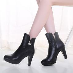 Frauen Kunstleder Stämmiger Absatz Stiefel mit Strass Reißverschluss Schuhe (088109399)
