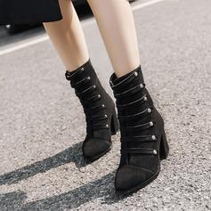 Frauen Veloursleder Stämmiger Absatz Absatzschuhe Stiefelette mit Reißverschluss Knopf Schuhe (088138797)