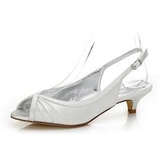 Frauen Satin Niederiger Absatz Peep Toe Slingpumps Färbbare Schuhe (047088662)