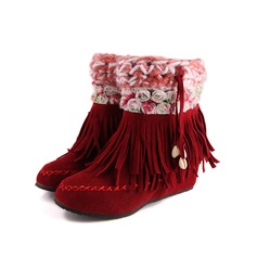 Kunstleder Niederiger Absatz Stiefelette mit Quaste Schuhe (088097893)