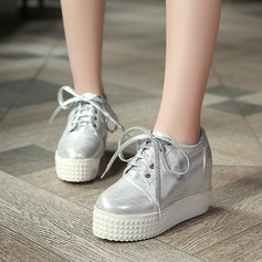 Women's Leatherette Wedge Heel Closed Toe Wedges With Lace-up shoes (086119385)