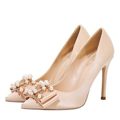 Women's Satin Stiletto Heel Closed Toe Pumps With Bowknot Crystal (047193145)