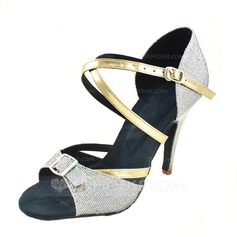 Women's Leatherette Sparkling Glitter Heels Sandals Latin With Ankle Strap Dance Shoes (053012993)