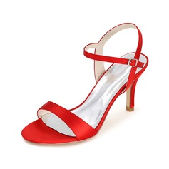 Frauen Satin Peep Toe Sandalen (047093838)