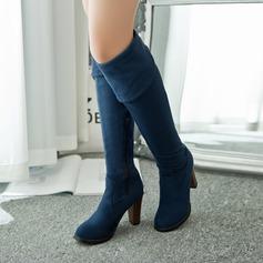 Donna Similpelle Tacco spesso Punta chiusa Stivali sopra il ginocchio scarpe (088094531)