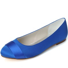 Women's Satin Flat Heel Closed Toe Flats (047058260)