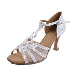 Kvinnor Glittrande Glitter Klackar Sandaler Latin Salsa med T-Rem Dansskor (053020380)