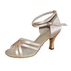 Kvinder Satin Hæle sandaler Latin med Ankel Strop Dansesko (053013154)