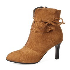 Frauen Veloursleder Stöckel Absatz Absatzschuhe Stiefel Stiefelette mit Bowknot Reißverschluss Schuhe (088143729)