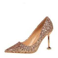 Frauen Funkelnde Glitzer Stöckel Absatz Absatzschuhe Geschlossene Zehe mit Funkelnde Glitzer Schuhe (085139788)