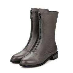 Frauen Kunstleder Flascher Absatz Stiefel-Wadenlang mit Reißverschluss Schuhe (088103957)