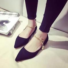 Donna Camoscio Senza tacco Ballerine Piattaforma con Catenina scarpe (086145705)