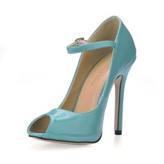 Patent Leather Stiletto Heel Sandals Peep Toe With Buckle shoes (085016996)