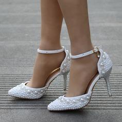 Frauen Kunstleder Stöckel Absatz Geschlossene Zehe Absatzschuhe mit Nachahmungen von Perlen Strass (047149248)